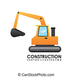 Construction design over white background, vector...
