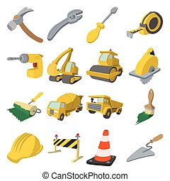 construction, dessin animé, icônes