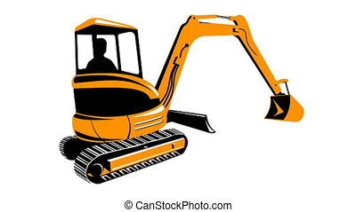 Construction Digger Mechanical Exca - 2d animation of a...