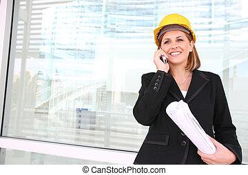 construction, directeur, femme