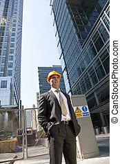 construction, directeur, ville