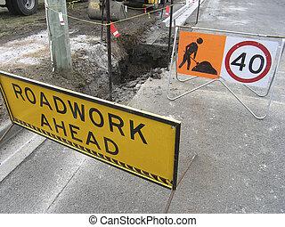 Road works underway