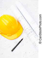 Construction drawing and saftey helmet