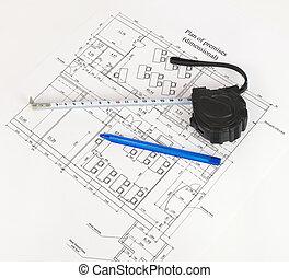 Construction drawing. Desk builder