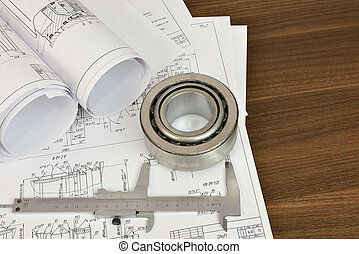 Construction drawings, caliper and bearing