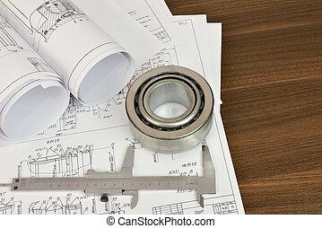 Construction drawings, caliper and bearing