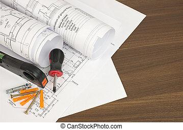 Construction drawings. Desk builder