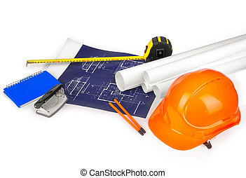 construction drawings on a white background