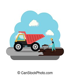 construction dump truck vehicle icon