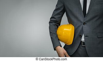 construction, -, dur, espace, gris, copie, industrie, business, fond, chapeau, homme affaires, jaune, underarm, tenue