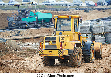construction earthmoving works with loader
