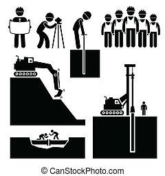Construction Earthwork Worker Icons - A set of human...