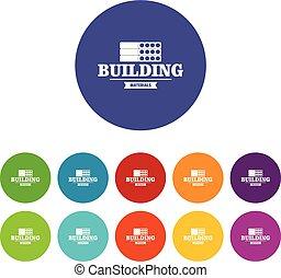 Construction emblem icons set vector color
