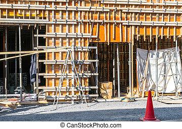 construction, encadrement, bois, maison