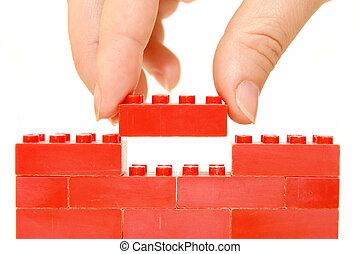 construction, enfants, mur, concepteur