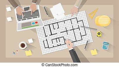 Construction engineer desktop - cartoon Construction...