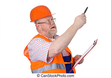 Construction engineer giving instructions