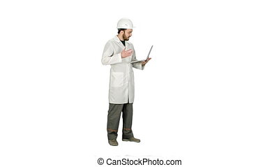 Construction engineer Videoconferencing With laptop on white background.