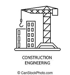 Construction engineering isolated outline icon, house building