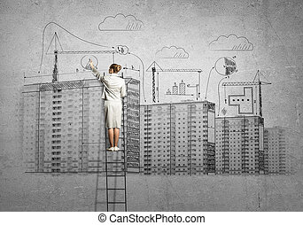Construction engineering - Rear view of businesswoman...