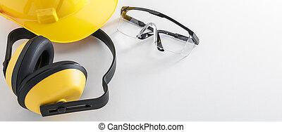 construction, equipement sûreté, blanc, fond, bannière, image