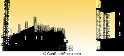 construction equipment and elements of a building under ...