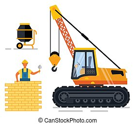 Construction equipment and working person vector. Man building wall with brick and cement made in mixing machine. Workman wearing helmet flat style