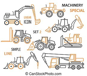 Construction equipment and special machinery linear vector icon set. Illustration