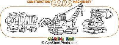 Construction equipment cars set. Coloring book