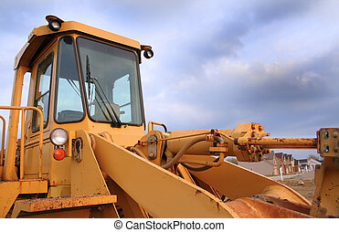 Construction equipment with blue sky background wide angle