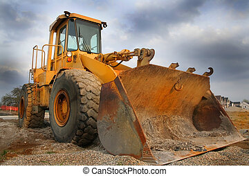 Construction equipment with sky back ground on a new housing site