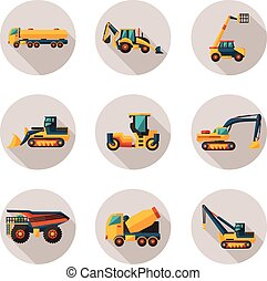 construction equipment flat icons