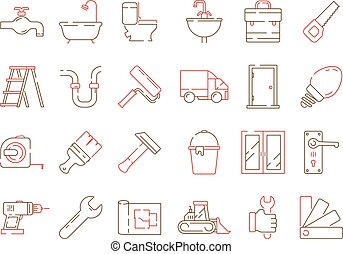 Construction equipment icon. Building home repair support service brickwork builder items vector collection