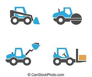 Construction equipment icons set, flat design.