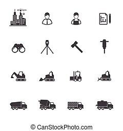 Construction equipment icons set.