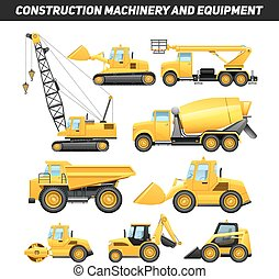 Construction Equipment Machinery Flat Icons Set
