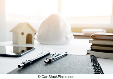Safety helmet blue print plan and construction equipment on construction equipment repair work drawings for building architectural project blueprint rolls and divider malvernweather Choice Image