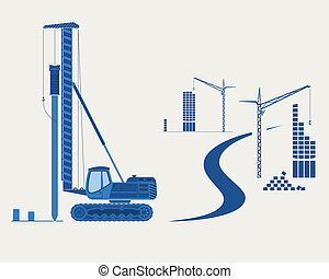 Construction equipment. Silhouettes of pile driver, cranes and buildings. EPS 10 opacity.