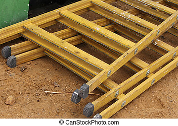 construction, escalier, jaune, site