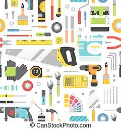 construction, escroqueries, équipement, main, fond, style., plat, seamless, outils, pattern.