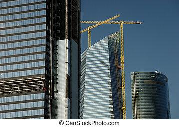 construction, espagne, site, madrid, gratte-ciel