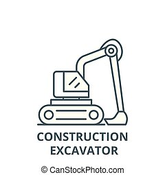 Construction excavator line icon, vector. Construction excavator outline sign, concept symbol, flat illustration