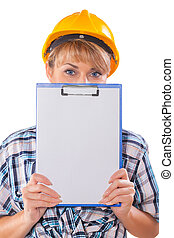 construction female worker with clipboard