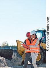 construction, femme, ouvrier, site, homme