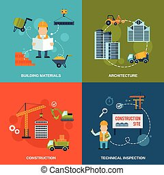 Construction Flat Icons - Construction flat icons set with...