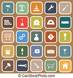 Construction flat icons on brown background