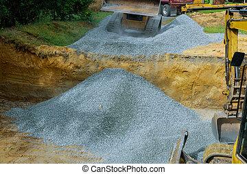 construction, fondation, déchargement, gravier, travaux, excavateur