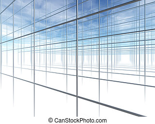 Construction Frame. Abstract shapes from a modern building. 3D render.
