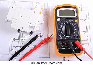 construction, fusible, multimètre, électrique, dessin