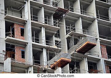 construction, général, site, vue